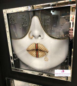Media Art Gucci Lips Mirror Framed sparkle Art  43cm x 43cm