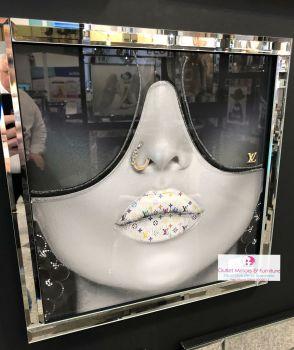 Media Art louis Vuitton Laurent multi colour Lips Mirror Framed sparkle Art  40cm x 40cm