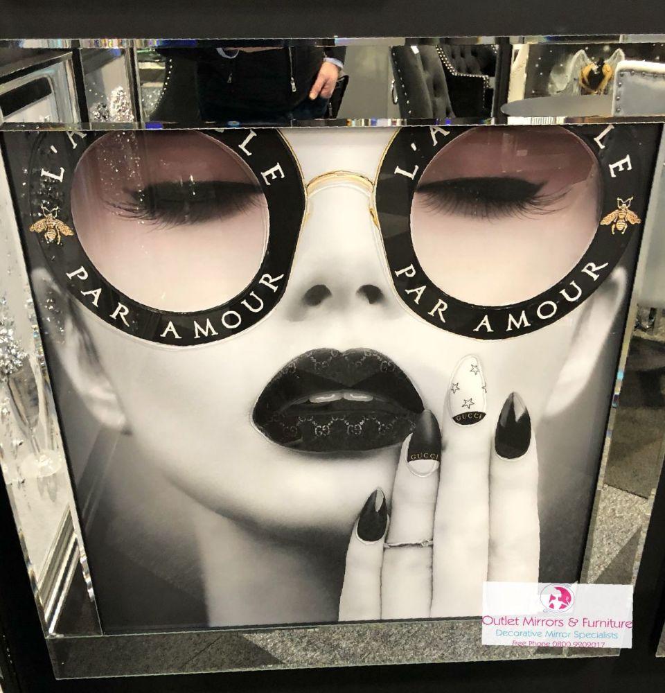 Media Art Chanel Mirror Framed sparkle Art  85cm x 85cm