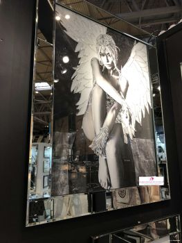 Media Art Glamour Lady Angel 1 Sparkle Art in a mirrored frame