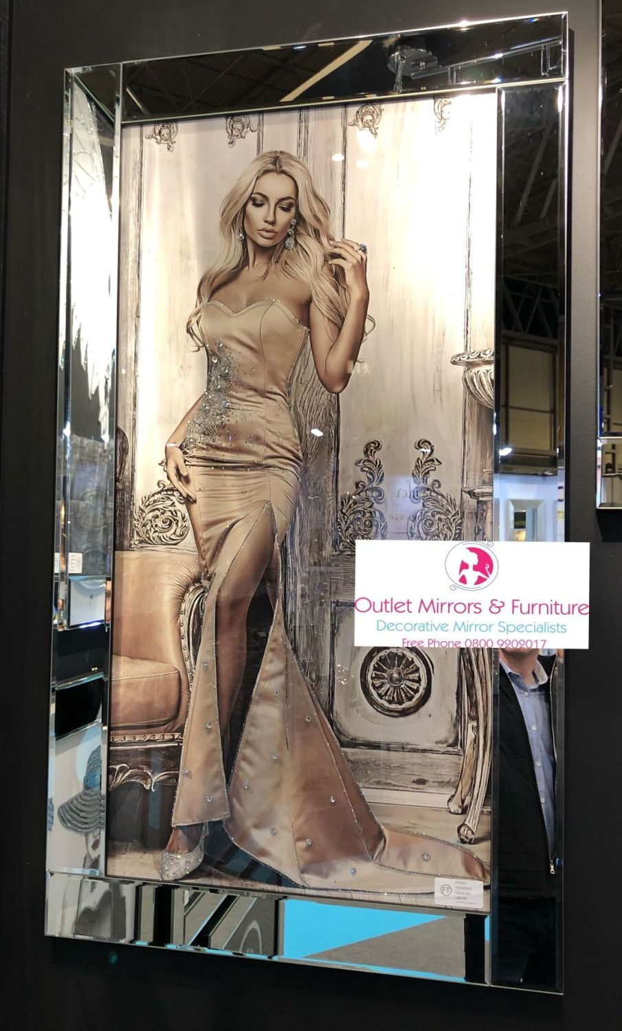Media Art Glamour Lady Sparkle Art in a mirrored frame
