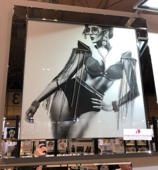 Media Art Glamour Sequin Lady Sparkle Art in a mirrored frame 85cm x 85cm