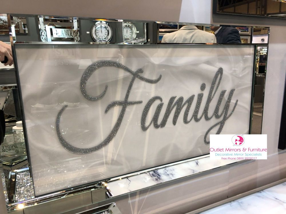 Family Script Sparkle Art in a mirrored frame 114cm x 64cm