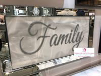 Family Script Sparkle Art in a mirrored frame 114cm x 64cm