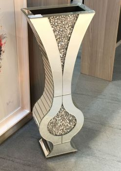 * New Diamond Crush Sparkle Crystal Mirrored shaped Vase 80cm - item in stock