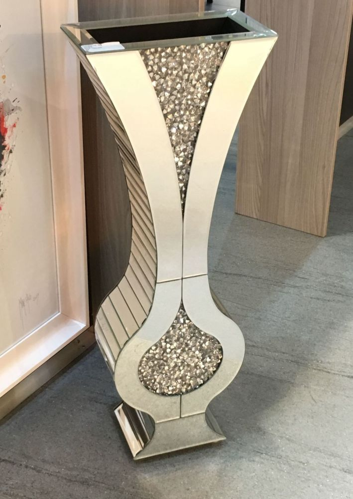 * New Diamond Crush Sparkle Crystal Mirrored shaped Vase 80cm - item in sto