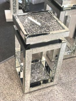 * Diamond Crush Sparkle Crystal Mirrored Tier Top Lamp Table small - item in stock