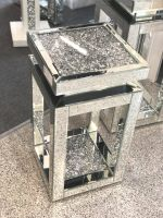 * Diamond Crush Sparkle Crystal Mirrored Tier Top Lamp Table Large