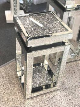 * Diamond Crush Sparkle Crystal Mirrored Tier Top Lamp Table Large - item in stock