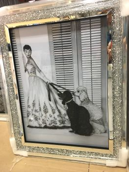 """Glamour Lady with Dogs "" Wall Art in a diamond crush mirrored Frame"