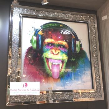 """Colourful DJ Monkey"" Wall Art in a diamond crush mirrored Frame in stock"