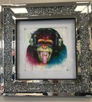 """Colourful DJ Monkey"" Wall Art in a diamond crush mirrored Frame"