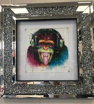 """Colourful DJ Monkey"" Wall Art in a diamond crush mirrored Frame"