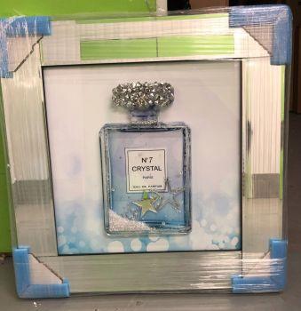 No 7 Crystal Perfume Mirror framed Sparkle Glitter Art in purple/blue