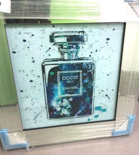 Mirror Framed Sparkle Glitter Art Chanel Coco Noir Perfume In Stock