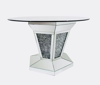 "* Diamond Crush Sparkle Mirrored Dining Table Round ""Marseille"" item in stock"