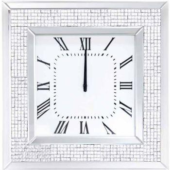 Silver Sparkle Mosaic Mirrored Clock 51cm x 51cm