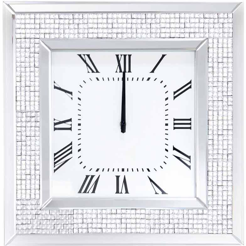 Silver Sparkle Mosaic Mirrored Clock 51cm x 51cm