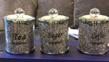 """ New Diamond Crush Set of 3 Tea, Coffee and Sugar Jars"