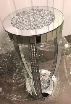 * Diamond Crush Sparkle Crystal round Mirrored Lamp Table with Mosaic trim