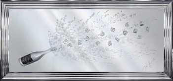 Jake Johnson 3D Silver Champagne Large wall art on a Silver Mirror in a choice of  frames 160cm x 75cm