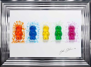 Jake Johnson 3D colourful Jelly Babies wall art on a white gloss background 55cm x 75cm