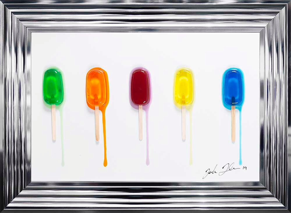 Jake Johnson 3D colourful Ice Lollies wall art on a white gloss background