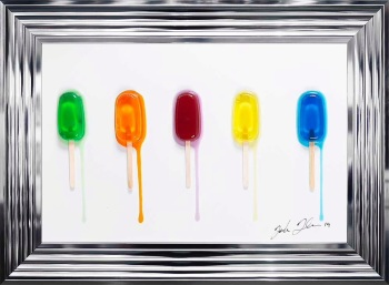 Jake Johnson 3D colourful Ice Lollies wall art on a white gloss background 55cm x 75cm