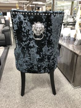Lion Back Dining Chair in Black Crush Velvet