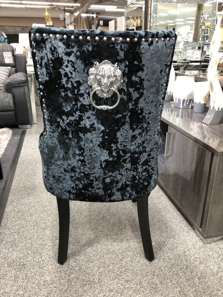 Lion Back Dining Chair in Black Crush Velvet