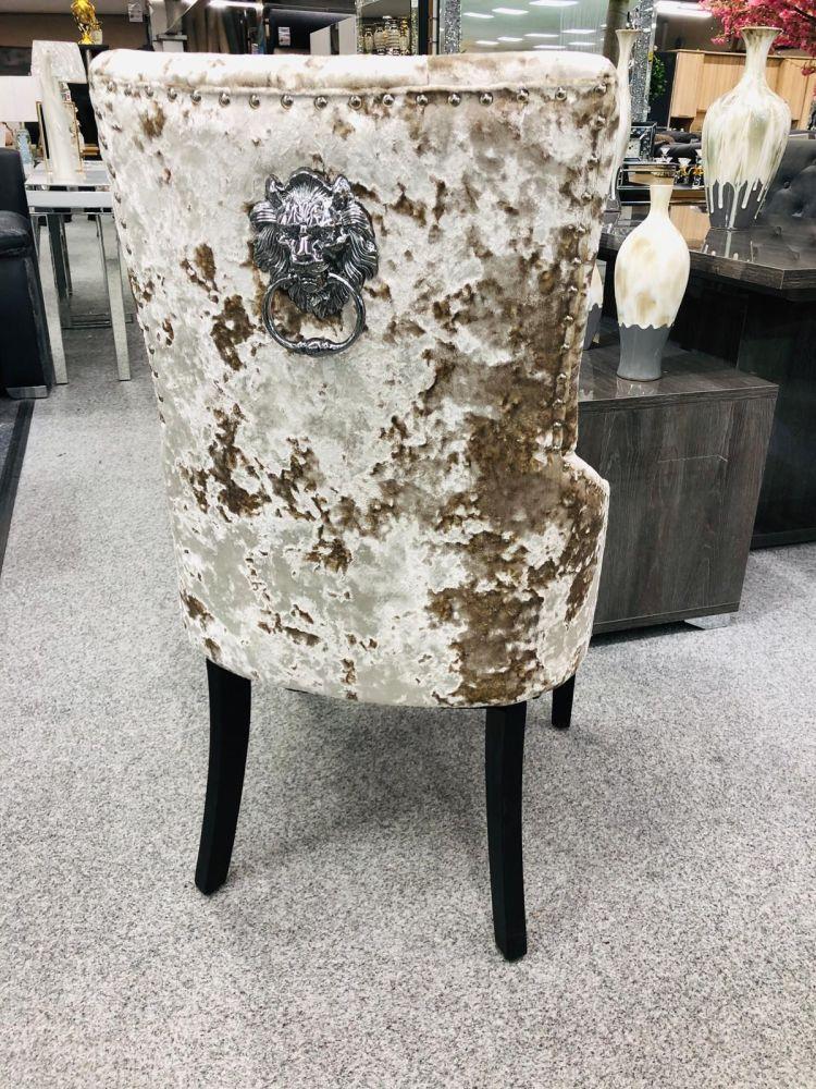 Lion Back Dining Chair in Champagne Crush Velvet