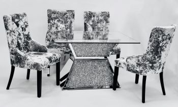 "* Diamond Crush Sparkle Mirrored  Dining Table ""Prism"" Large 150cm & 6 Silver Grey Lion Back dining chairs"