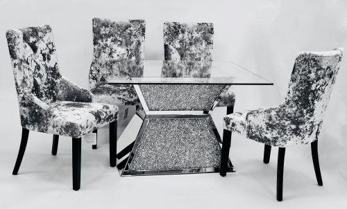 Diamond Crush Sparkle Mirrored Dining Table