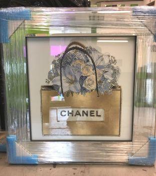 """Mirror Framed Sparkle Glitter Art """" Chanel Bouquet"""" mirror frame"""