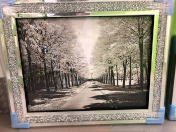"""Winter Wonderland"" Wall Art in a diamond crush mirrored Frame"