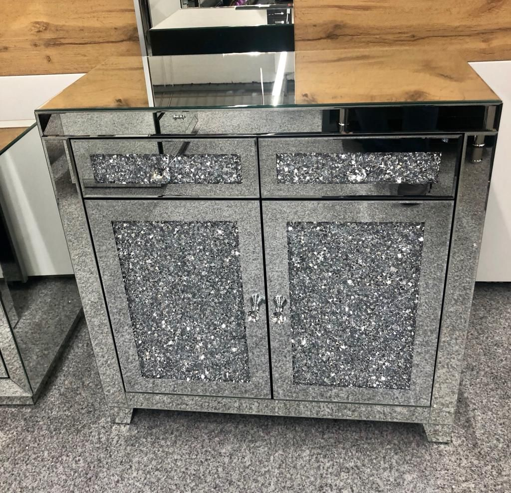 *Diamond Crush Sparkle Crystal Mirrored 2 draw 2 Door Sideboard with crysta