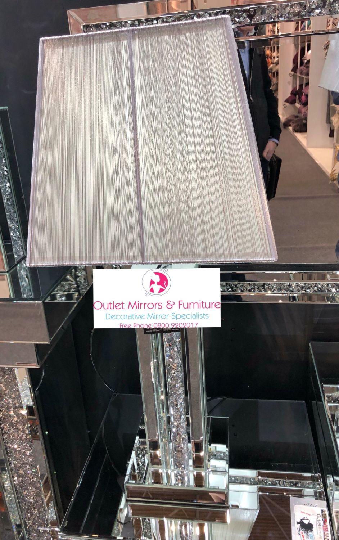 ^Diamond Crush Crystal Pillar 2 Mirrored Lamp with shade in stock