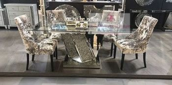 "* Diamond Crush Sparkle Mirrored  Dining Table ""Azuri"" item in stock"