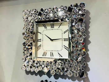 Jewel Crystal Wall Clock Square 49cm x 49cm