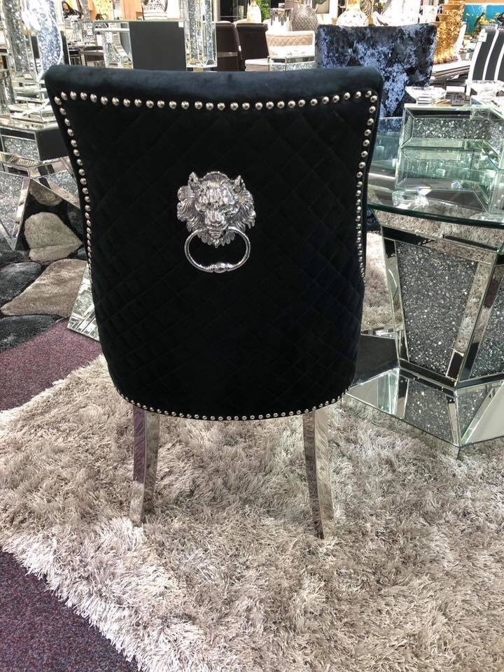 Lion Back Dining Chair Quilted Stitch Back Design in Black with Chrome Leg