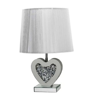 *Diamond Crush Crystal Sparkle Mirrored Heart Shaped Table Lamp with Round shade in stock