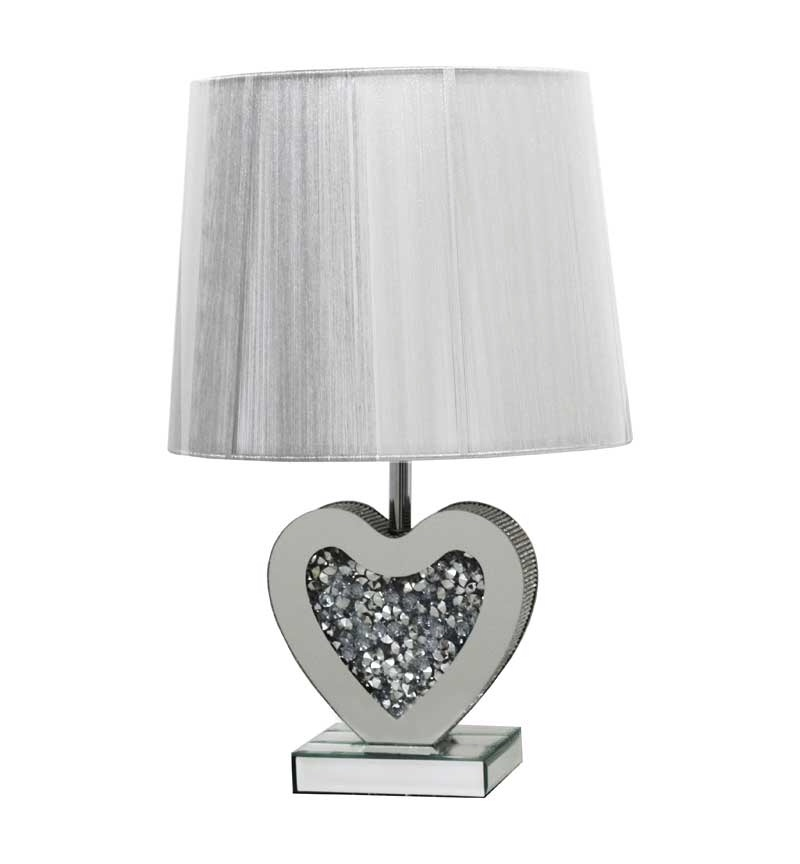 ^Diamond Crush Crystal Sparkle Mirrored Heart Shaped Table Lamp in stock