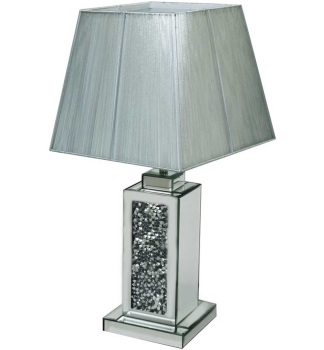 *Diamond Crush Crystal Sparkle Mirrored wide Column Table Lamp in stock