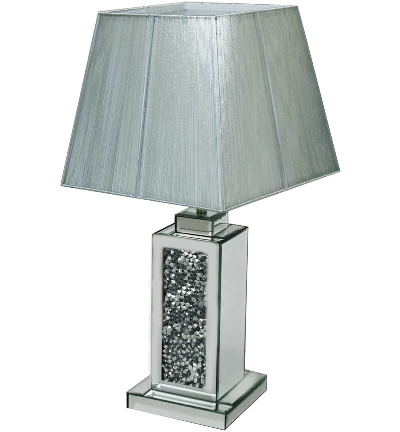 ^Diamond Crush Crystal Sparkle Mirrored wide Column Table Lamp in stock