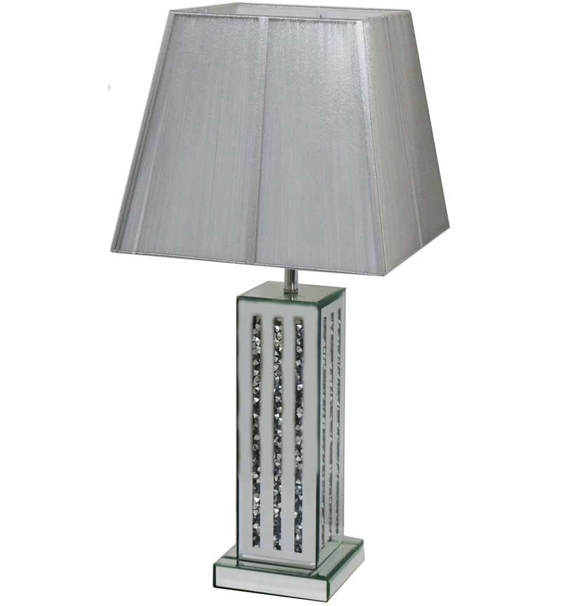 ^Diamond Crush Crystal Sparkle Mirrored Lines Table Lamp in stock