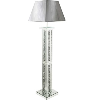 ^Diamond Crush Crystal Sparkle Mirrored lines Floor Lamp silver or white shade  30.5cm x 142cm in stock