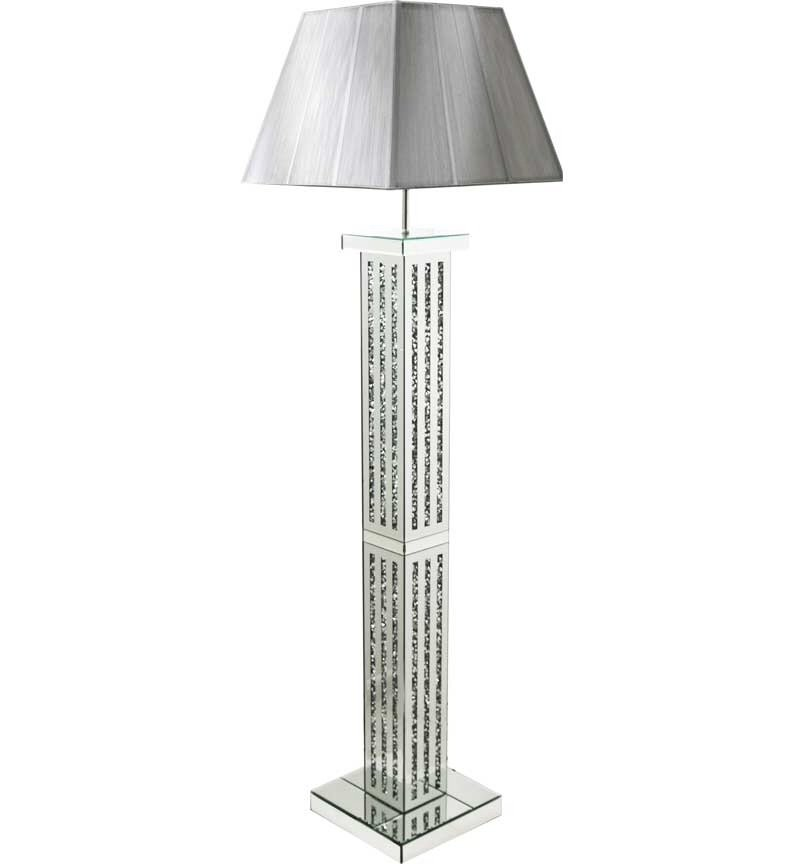 ^Diamond Crush Crystal Sparkle Mirrored lines Floor Lamp silver or white sh