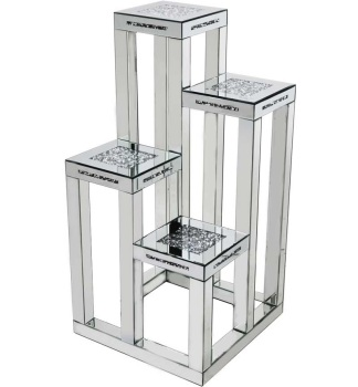 * Diamond Crush Sparkle Crystal Mirrored 4 Tier Display Stand Table