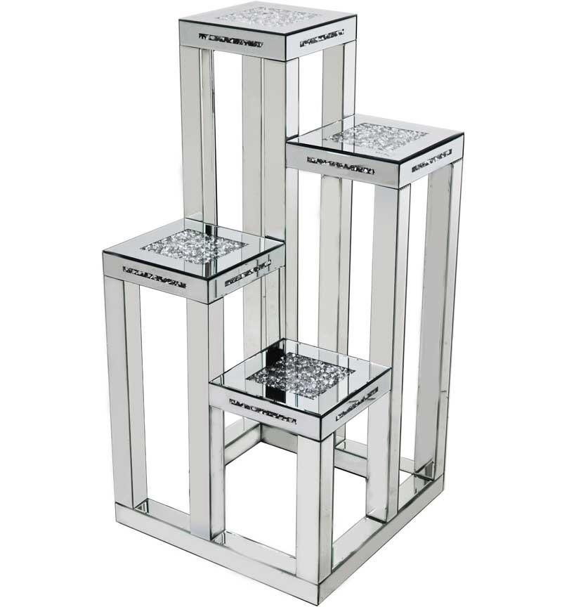 * Diamond Crush Sparkle Crystal Mirrored 4 Tier Display Stand Table