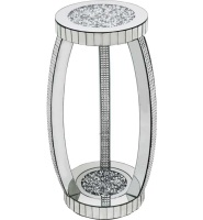 * Diamond Crush Sparkle Crystal round Mirrored Lamp Table with Mosaic trim